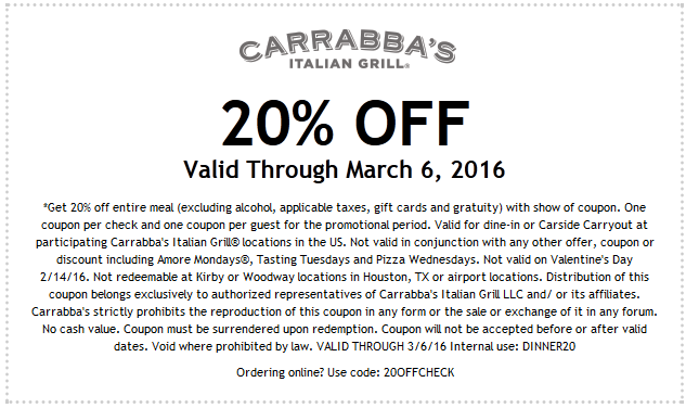 picture regarding Carrabba's Printable Menu identified as Carrabbas Coupon 2016 Coupon Code Price reduction