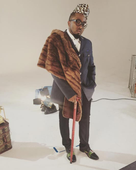 Ice Prince Zamani dresses up like a dapper South African prince on set of video shoot