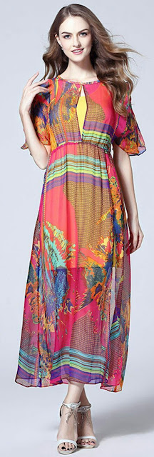 Multi printed long Dress