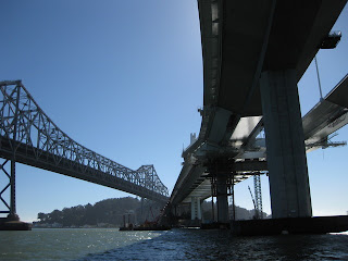 Original eastern span of the Bay Bridge (left), replacement span (right)
