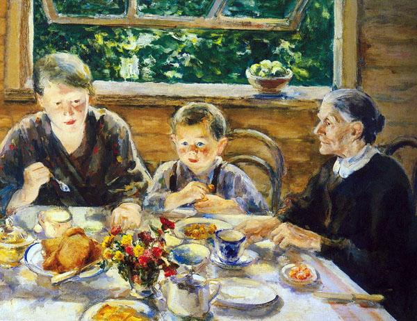 Крылов Порфирий, Завтрак на террасе. 1934  Художественный музей имени П.Н. Крылова, Тула