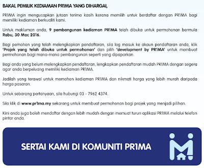 daftar PR1MA 2016, prima, rumah pr1ma, projek baru rumah pr1ma