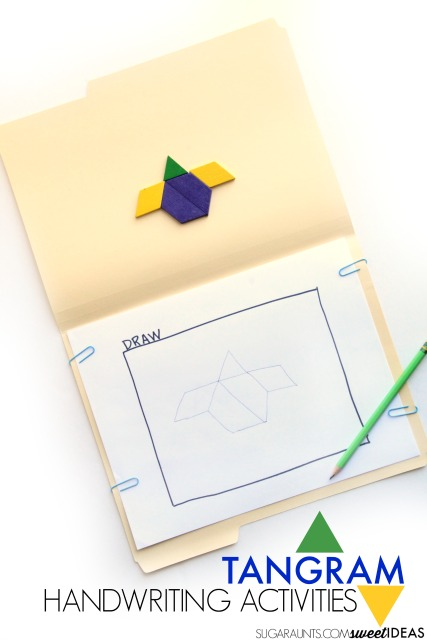 Work on handwriting skills using tangrams to address the visual perception skills needed for written work.