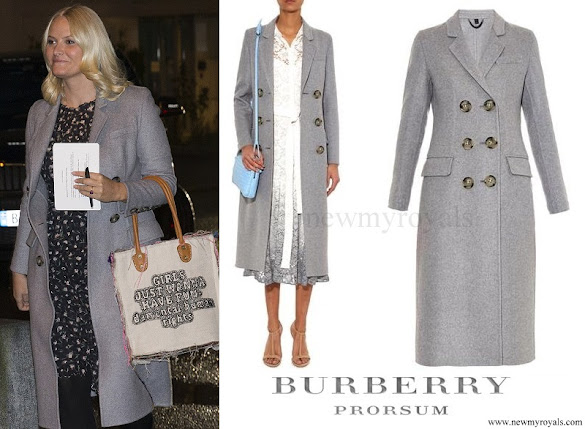 Crown Princess Mette-Marit wore BURBERRY Prorsum Double breasted cashmere coat