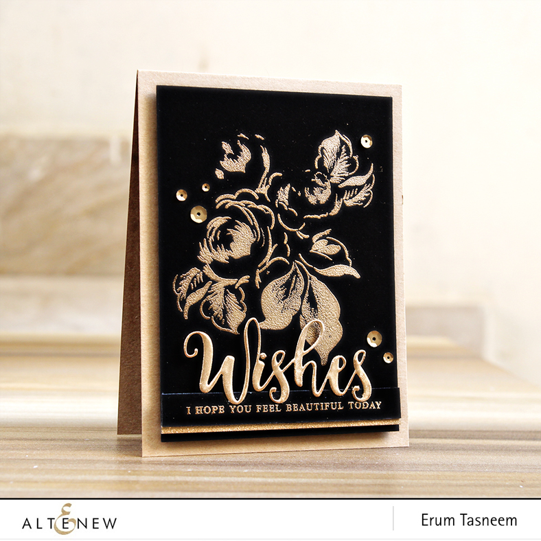 Altenew Winter Rose | Rose Gold and Platinum Embossing | Script Words 2 Die Set | Erum Tasneem | @pr0digy0