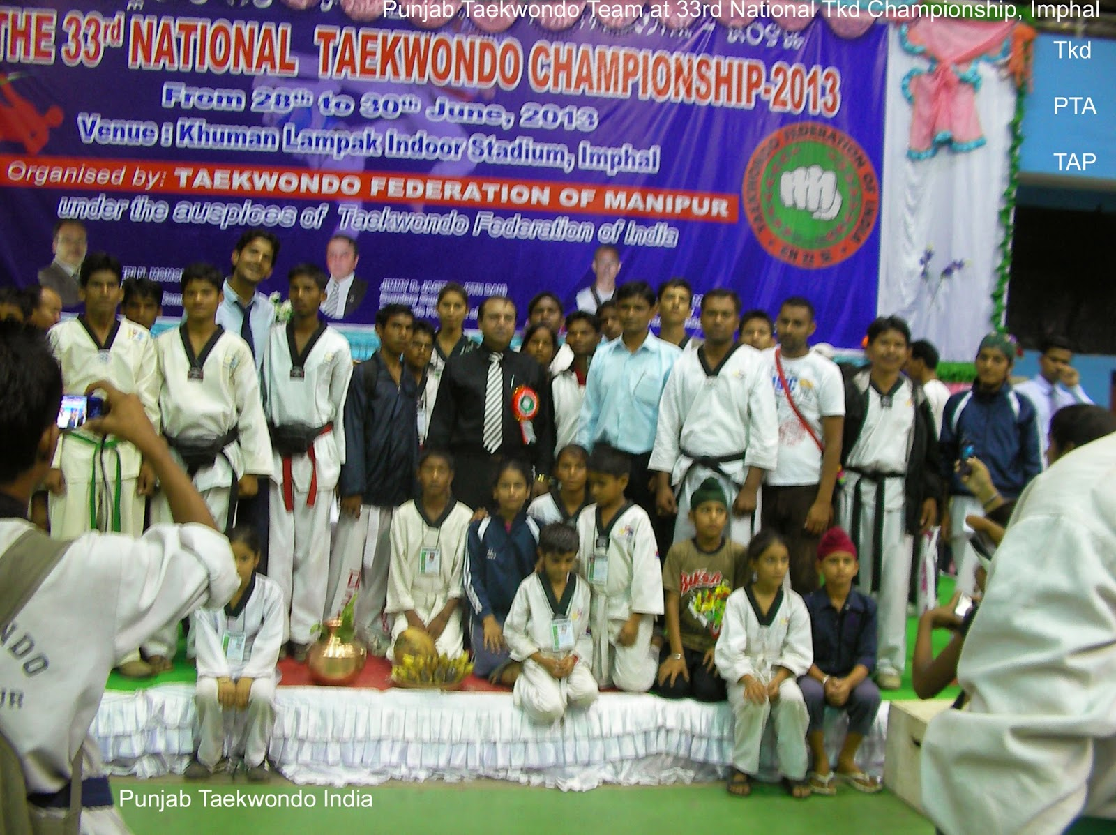 Punjab Taekwondo team with Grandmaster Jimmy R. Jagtiani at Khulam Lampak Stadium, Imphal, Manipur, During 33rd National Tkd Championship, Taekwondo, Martial Arts, Fitness, Tkd, Championships, Training, Classes, Coaching, Self-defence, Girls, Women, Safety, Fitness,  Mohali, SAS Nagar, near Chandigarh, Punjab, India, Shere, Lions, Videos, Movies, Master, Er. Satpal Singh Rehal, Rehal, Academy, Association, Federation, Clubs, Satpal Rehal, Korean Judo Karate, Chandigarh, Reiki, Healing, Kot Maira, Garhshankar, Hoshiarpur, Jalandhar, Amritsar, Patiala, Mansa, Ludhiana, Ferozepur, Sangrur, Moga, Pathankot, Gurdaspur, Barnala, Nawanshahar, Ropar, Ajitgarh, Fatehgarh Sahib, Taran Taran, Patti, Faridkot, Winners, Medal Ceremony, Chief Guest, TAP, PTA, Grandmaster, Reiki, TFI, Jimmy R Jagtiani, Lucknow, School, Games