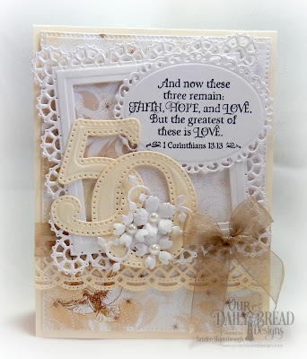 Our Daily Bread Designs Stamp Set: Happy Wedding Day, Paper Collection: Wedding Wishes, Custom Dies: Large Numbers, Pierced Rectangles, Beautiful Borders, Ornate Ovals, Bitty Blossoms, Leaves and Branches, Squares, Layered Lacey Squares