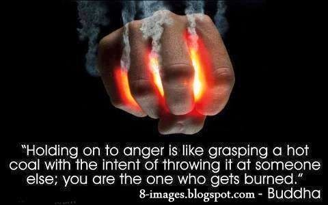Holding, Anger, grasping, hot, coal, burned, Buddha,