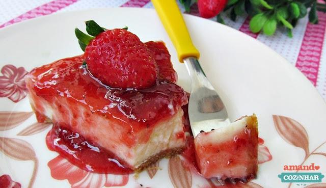 receita Cheesecake de morango
