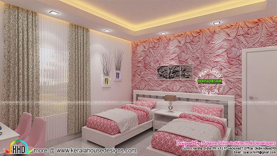 Pink kid bedroom interior