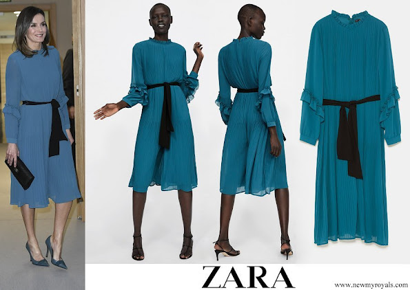 Queen Letizia wore ZARA pleated jumpsuit dress with belt 2019 collection