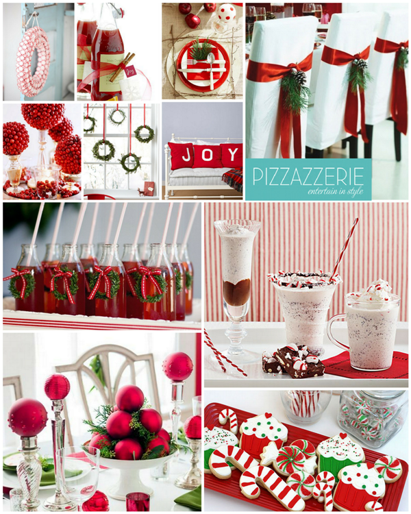 Peppermint Christmas Red & White Party Ideas - via BirdsParty.com