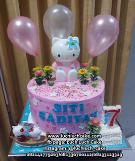 Kue Tart Hello Kitty Lucu Pink Pakai Balon