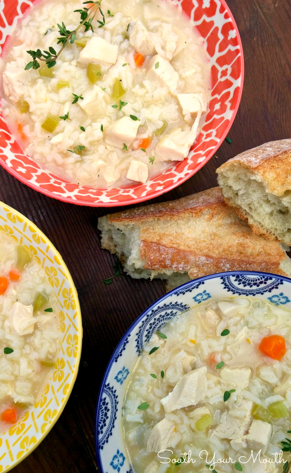 Easy Chicken & Rice Soup! Creamy homemade chicken soup in just 30 minutes