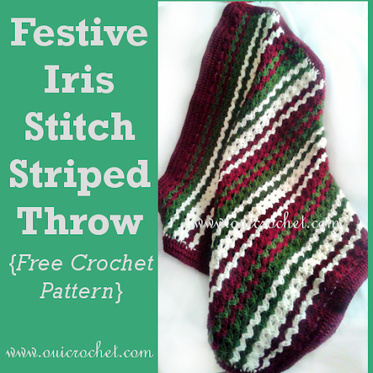 Festive Iris Stitch Striped Throw {Free Crochet Pattern}