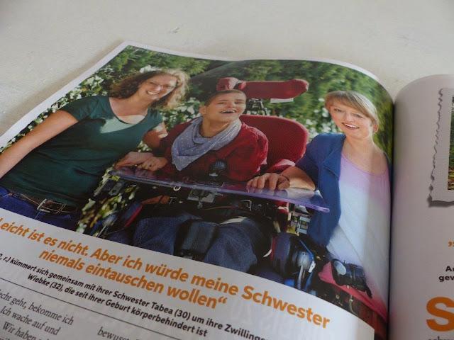 Freundin Zeitschrift erwachsene Geschwister behinderter Menschen Körperbehinderung Tetraspastik Weltgeschwistertag Zwillingsschwester