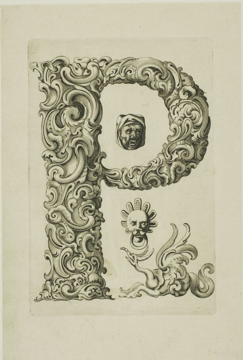 letter 'n' - proto-surrealist organic engraving