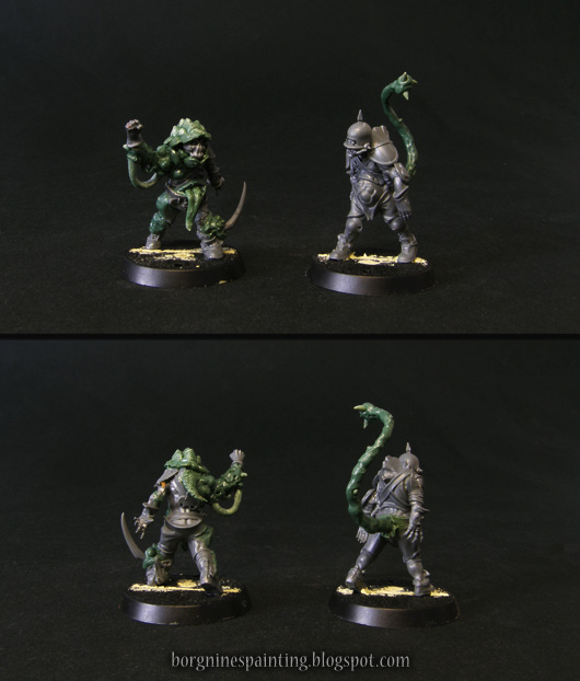 2 unpainted, kitbashed miniatures of rotters for Blood Bowl Nurgle team, visible from multiple angles. Through the use of bits and greenstuff, they were converted to show their own upgrade skills, Thick Skull and Prehensile Tail respectively.
