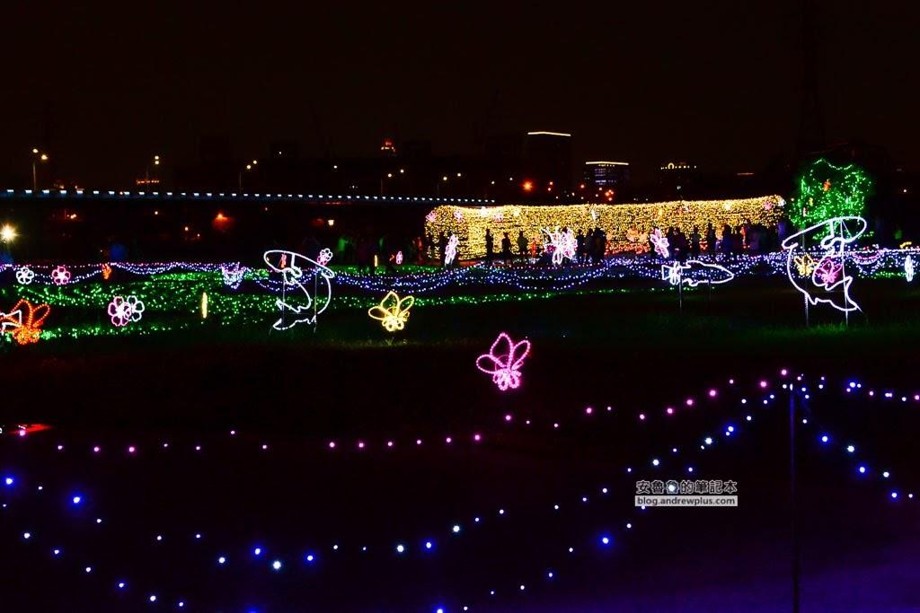 蝴蝶公園花園地景,江子翠橫移門在哪裡,萬安跨提天橋,板橋光雕,板橋河濱公園光雕