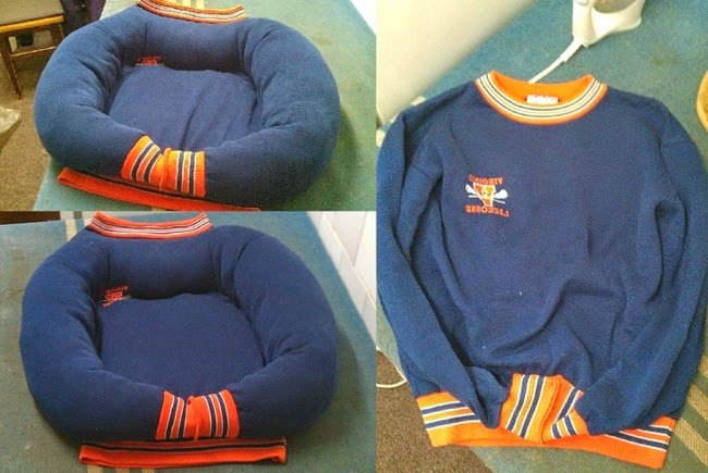 olderrose: Motif cutouts and sweatshirt dog bed.