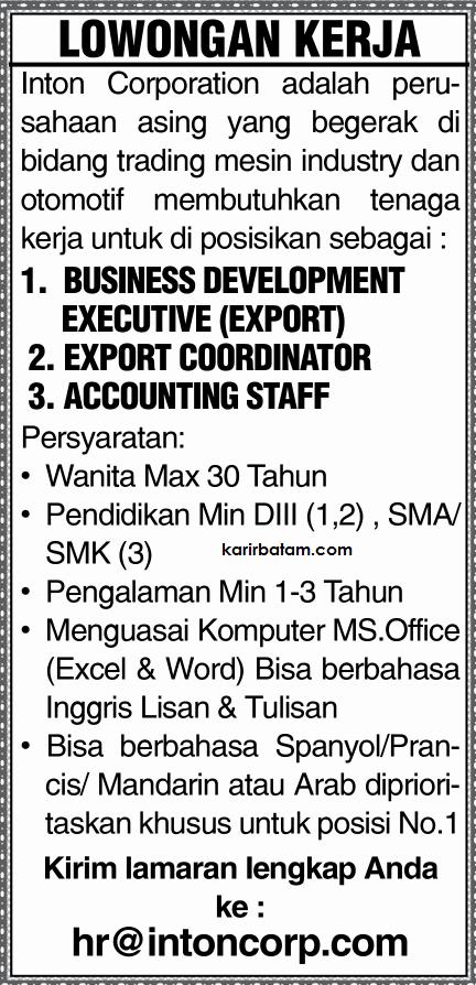Lowongan Kerja PT. Inton Corporation