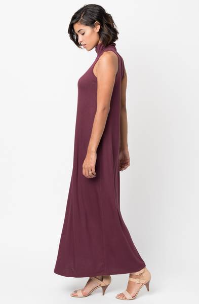 Shop for Red brown Sleeveless Turtleneck Collar Mock Neck Maxi dress online on caralase.com