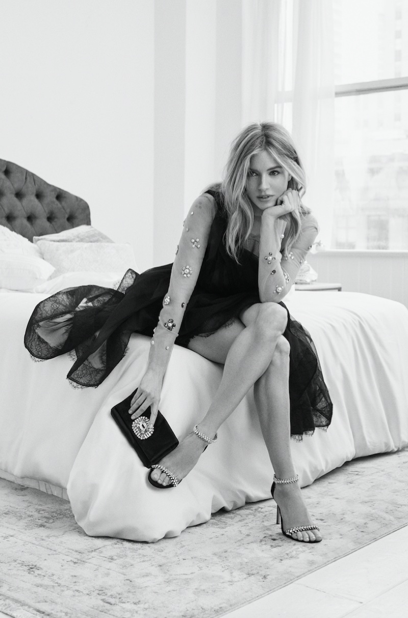 Sienna Miller poses for the Jimmy Choo Pre-Fall 2019 Lookbook