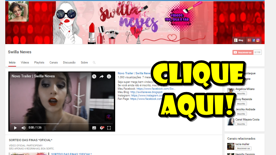 Meu canal no Youtube: