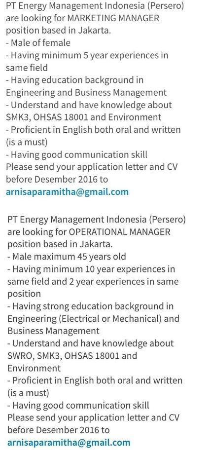 Lowongan BUMN PT Energy Management Indonesia (Persero)
