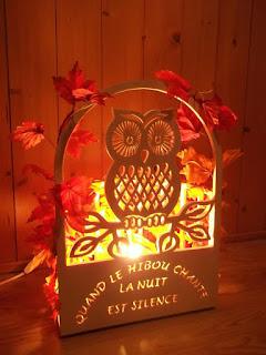 lampes en bois motif chouette