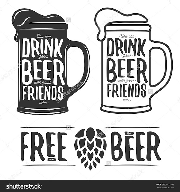 Set Of Beer Typography Vintage Prints Quotes About Beer Free Wifi