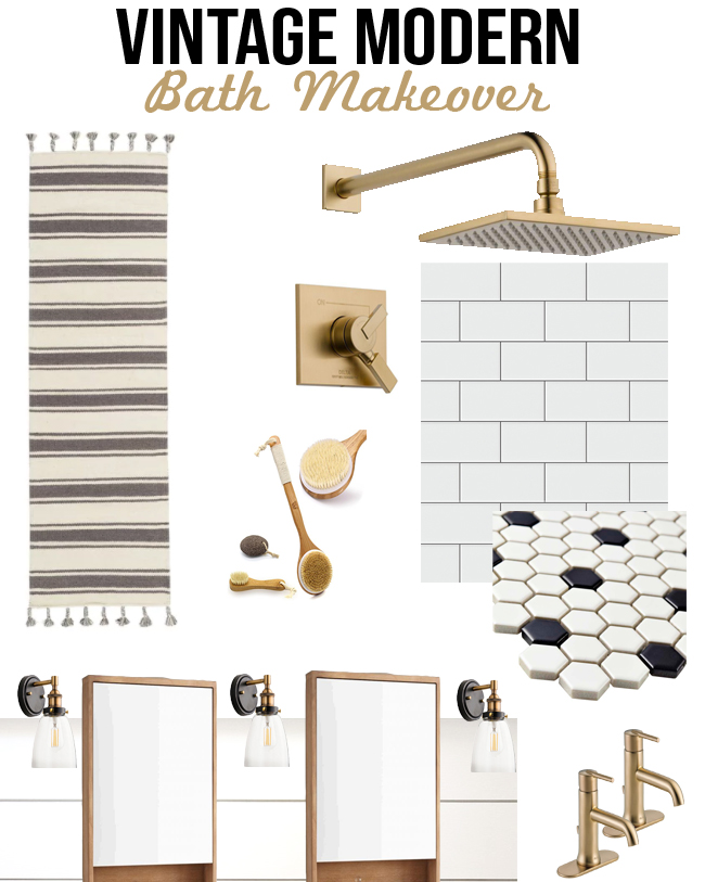 gold, white and black bath makeover