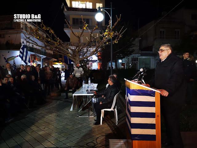 Ομιλία Μιχαλολιάκου στο Άργος - Ένταση από την αντισυγκέντρωση (βίντεο)