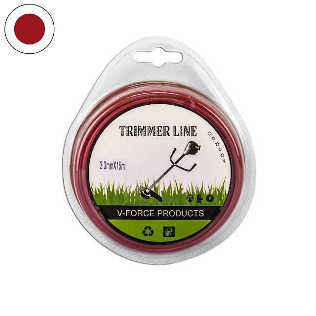 เอ็นตัดหญ้า แบบกลม 3.0 มิล 15 เมตร (สีแดง-เลือดหมู)