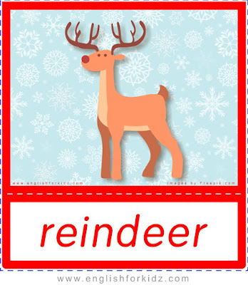 Reindeer, printable Christmas flashcards for ESL students