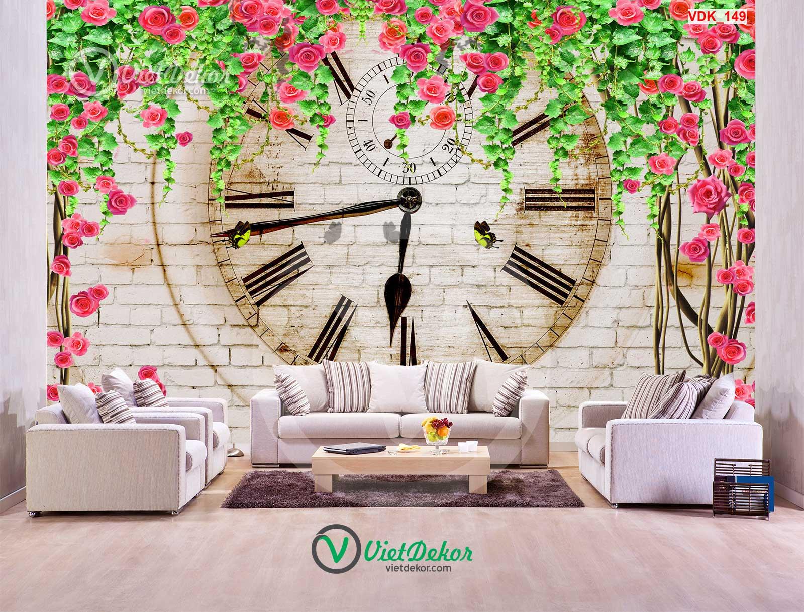 Tranh dán tường 3d hoa hồng leo