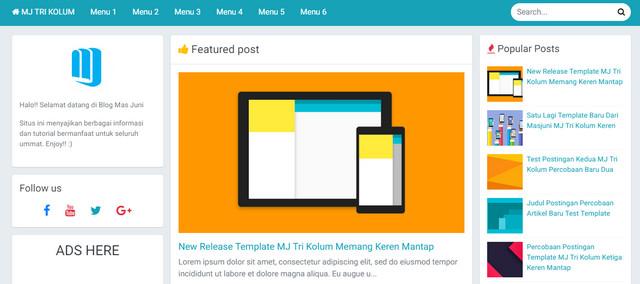 MJ Tri Kolum Full Responsive Blogger Templates