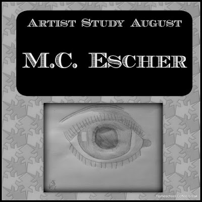 M.C. Escher artist study on the Virtual Refrigerator, an art link-up hosted by Homeschool Coffee Break @ kympossibleblog.blogspot.com #art #VirtualFridge