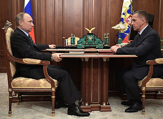 Vladimir Putin with Deputy Prime Minister and Presidential Plenipotentiary Envoy to the Far Eastern Federal District Yury Trutnev.