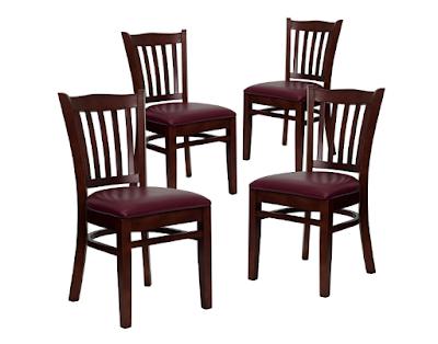 HERCULES Series Vertical Slat Backward Mahogany Wood Restaurant Chair