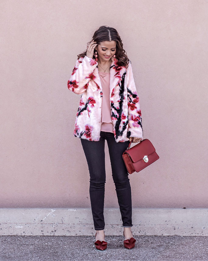 Guess Lily Pink Faux-Fur Coat Nine West Red Baldree Bag and McFally D'Orsay Bow Red Pumps Blogger Outfit