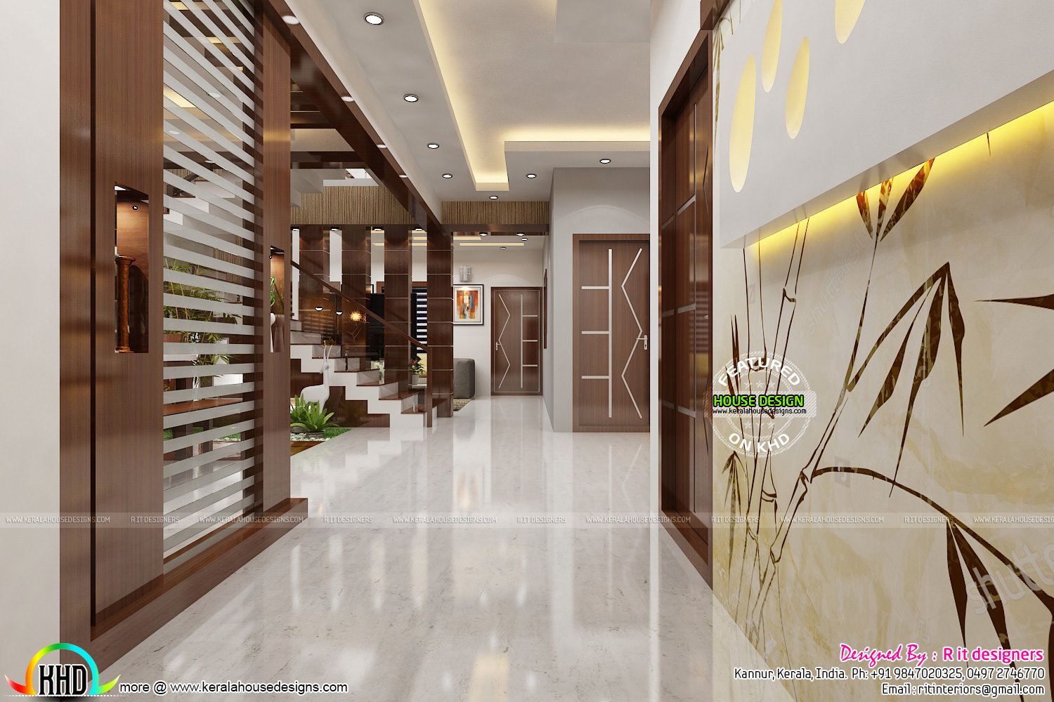 Foyer Plan Kerala : Dining kitchen and foyer interiors kerala home design