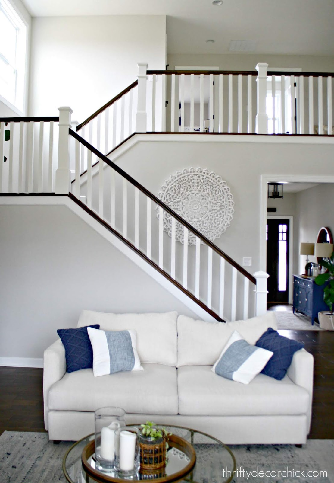 Transitional stairs in white and stain