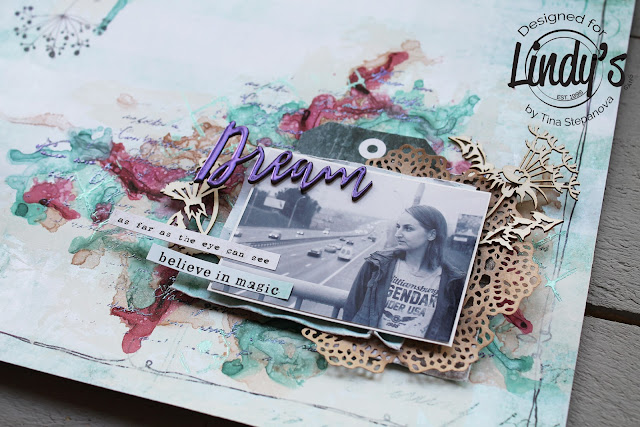 Mixed media layout @happytin4ik #lindystampgang #lindysgang #mixedmedia #mixedmedialayout #7dotsstudio