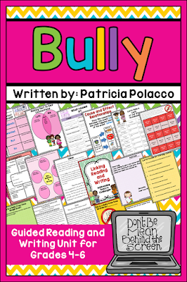 Cyber bullying, internet safety, and dealing with cliques are the topics explored with this book. The unit includes many options for reading and writing.
