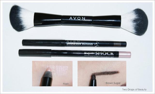 Avon, glimmerstick, supershock, карандаш для глаз, кисть для пудры, для румян