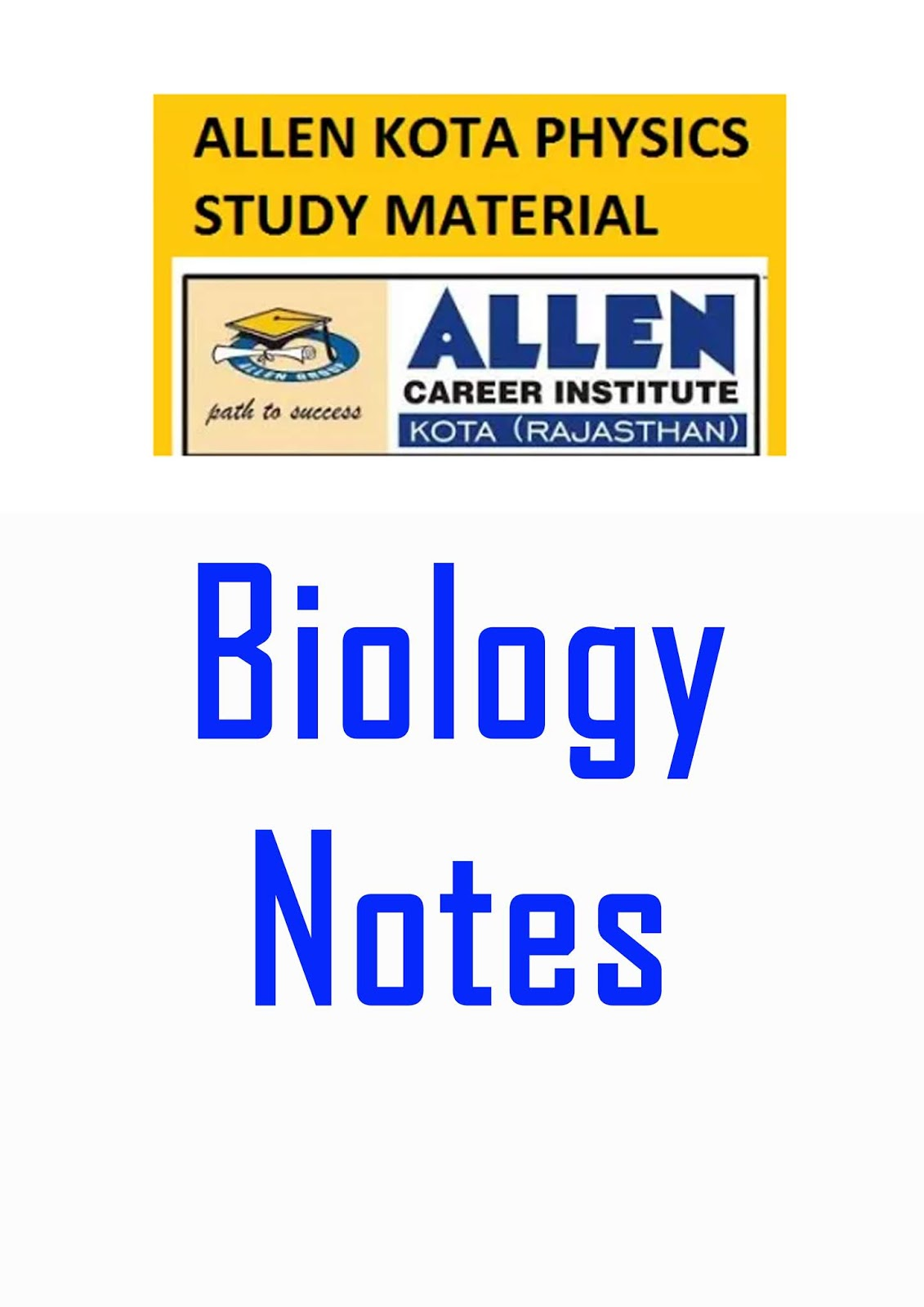 Download ALLEN BIOLOGY Notes Material FOR 2019 NEET & AIIMS