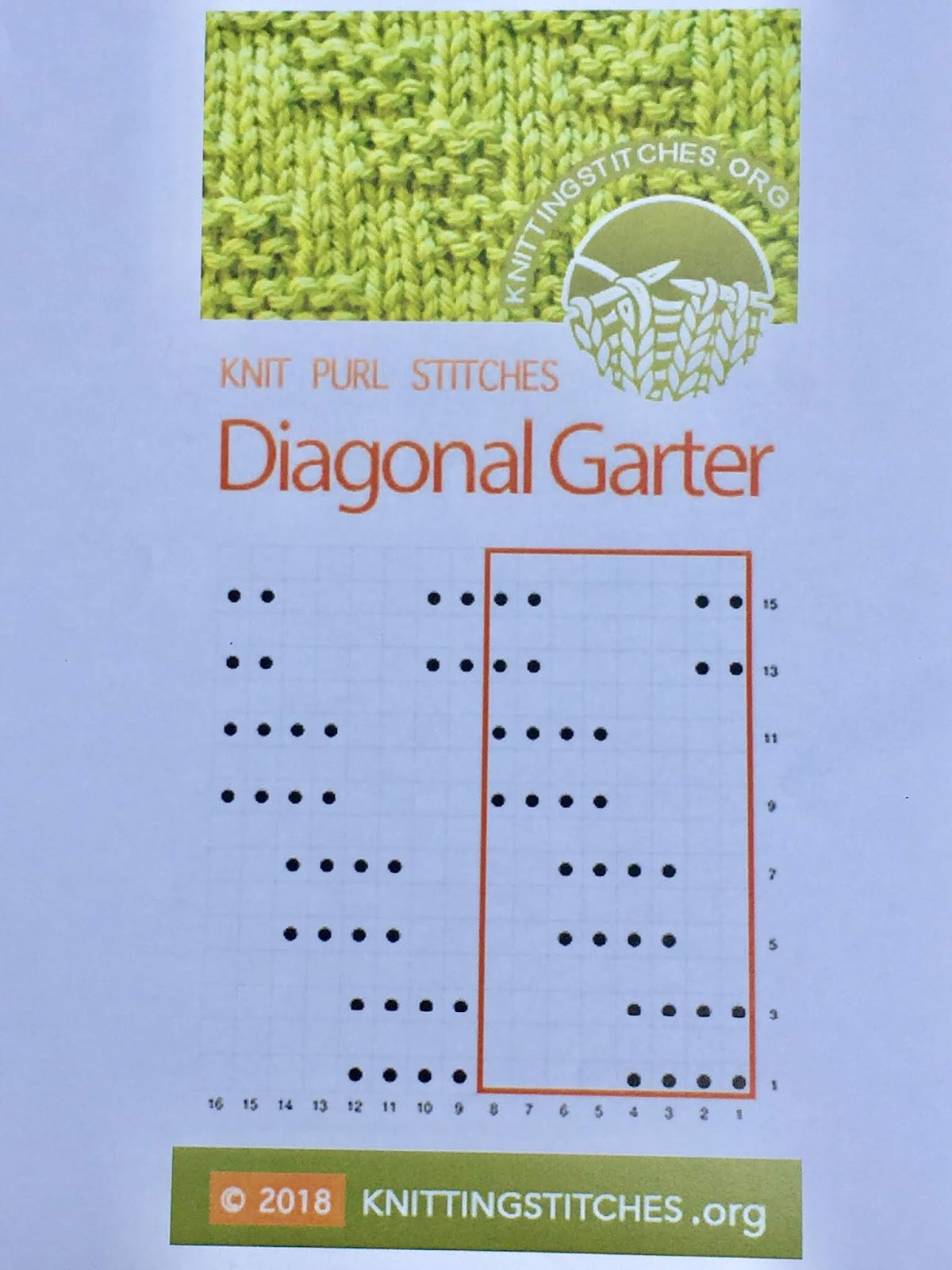 Knitting Stitches 2018 - Diagonal Garter Knit Purl stitch