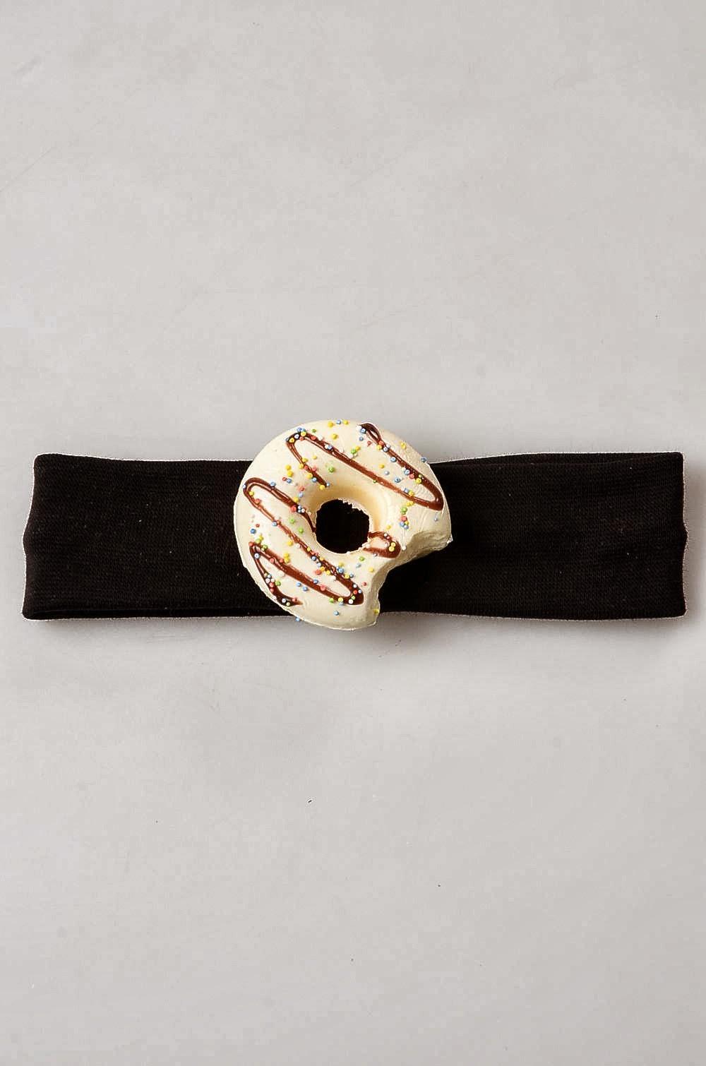 Bebek Saç Bandı, Kremalı Donut Bebek Bandı-Siyah