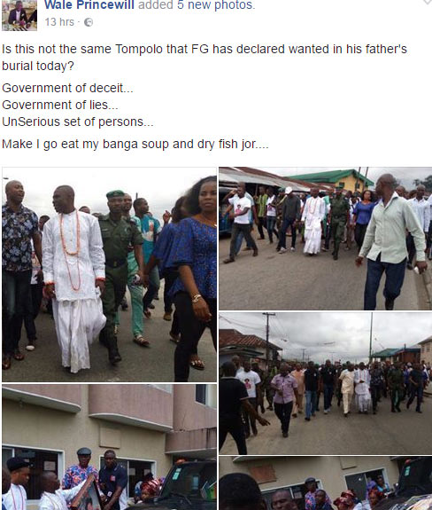 Photos: Wanted ex-militant Tompolo attended his father's burial?